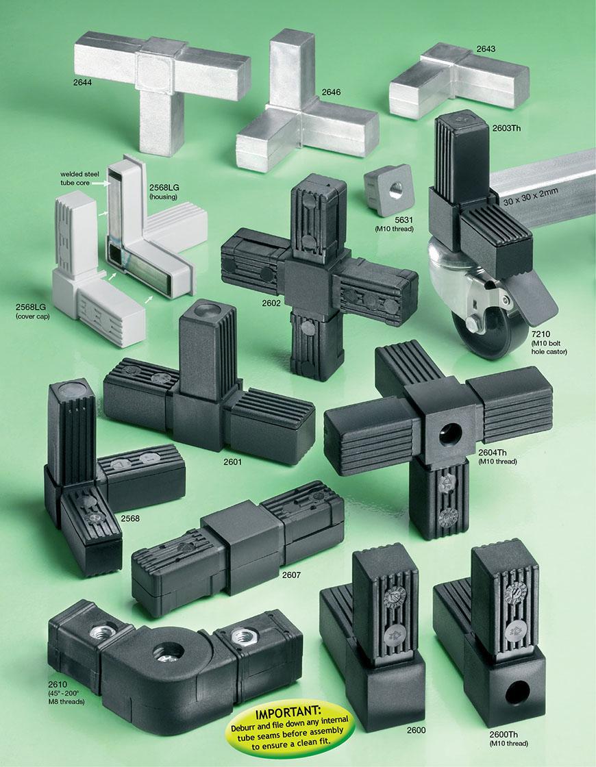 Square tube plug in connectors flexliner